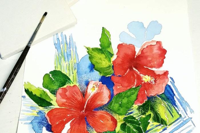 熱情洋溢‒夏日花卉。新竹輕水彩。進階班課程