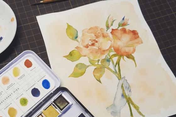 玫瑰花園。新竹輕水彩。初階班課程