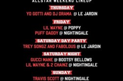 All Star weekend lineup at Poppy, Le Jardin, Bootsy Bellows, Nightingale & Academy.