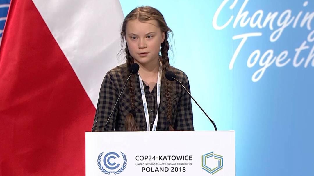 Greta Thunberg durante sus discurso en la 24º Conferencia de las Naciones Unidas sobre el Cambio Climático de 2018 (COP24)