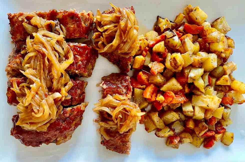 sheet pan glazed meatloaf- plated
