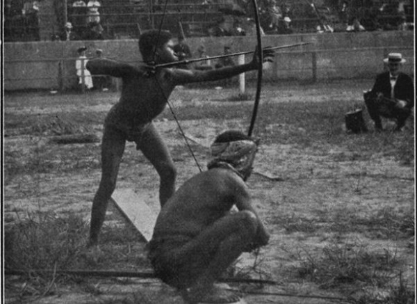 "Africans-shooting-archery-in-1904-St-Louis-""Savage-Olympics-Exhibition""-600x437"