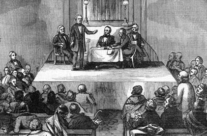 """Meeting of the American Colonization Society at Washington- Mr. Everett's address."" Undated illustration. --- Image by © Bettmann/CORBIS"
