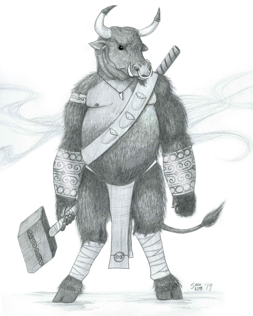Minotaur from Chronicles of Avilesor: War of the Realms series pencil sketch by Sara A. Noe