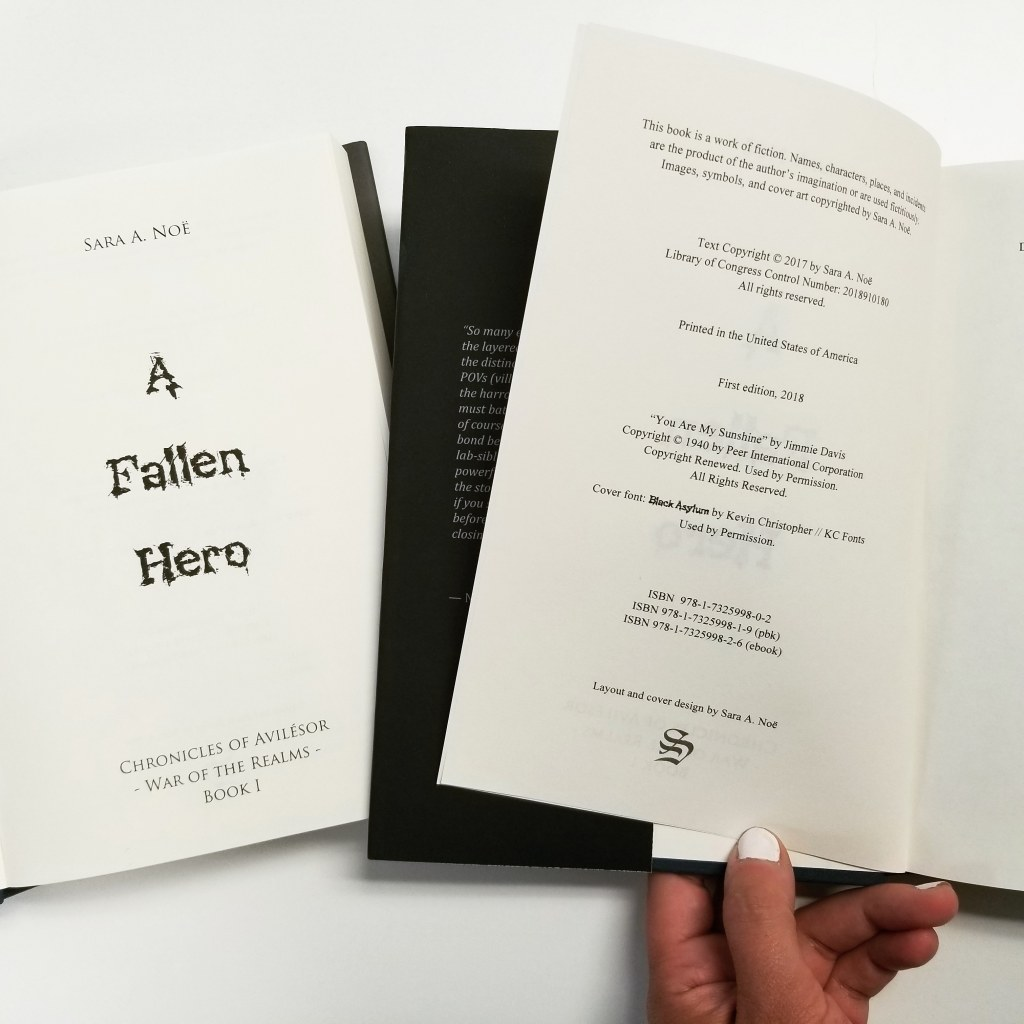 A Fallen Hero by Sara A. Noë copyright page