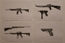 Linda Bond's gunpowder-and-graphite depictions of the guns used in the Colombine, Aurora, Sandy Hook, and Charleston massacres.