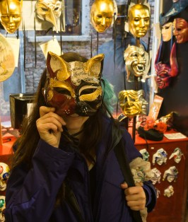 Trying on masks at Ca'Macana