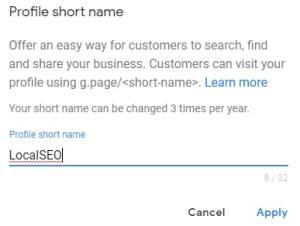 google my business short name