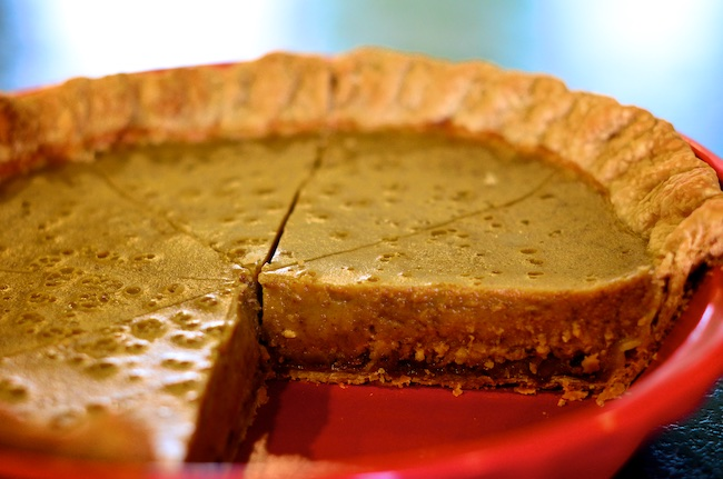pumpkin pie with hazelnut pie crust