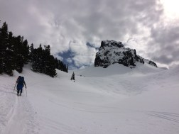 Skiing under the Castle, Tatoosh Range, MRNP