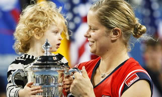 2009 US Open Winner Kim Clijsters with Daughter Jada
