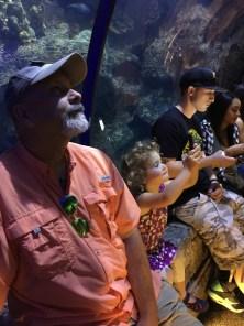 at the aquarium with Grandpa