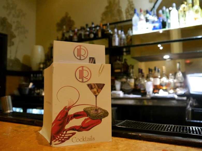 cocktail and oyster bar menu at rogano