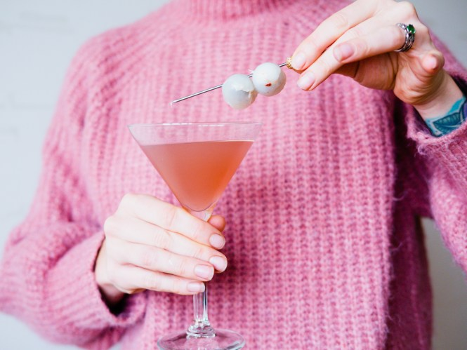 Lychee and bluebverry martini
