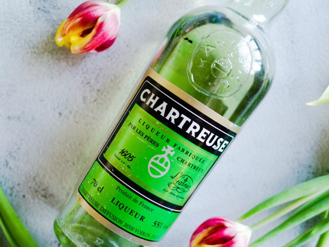 A bottle of green chartreuse