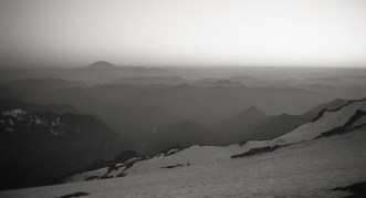 BW sunset from Camp Muir