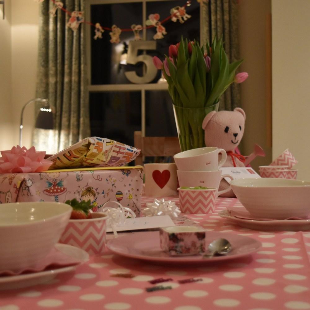 Birthday breakfast table