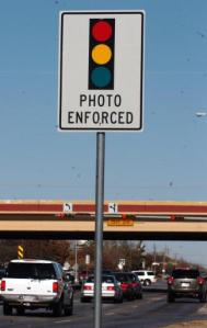 Warning Sign for a Red Light Camera