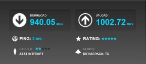 AT&T Internet, 940.05 Mb/s Download, 1002.72 Mb/s Upload.