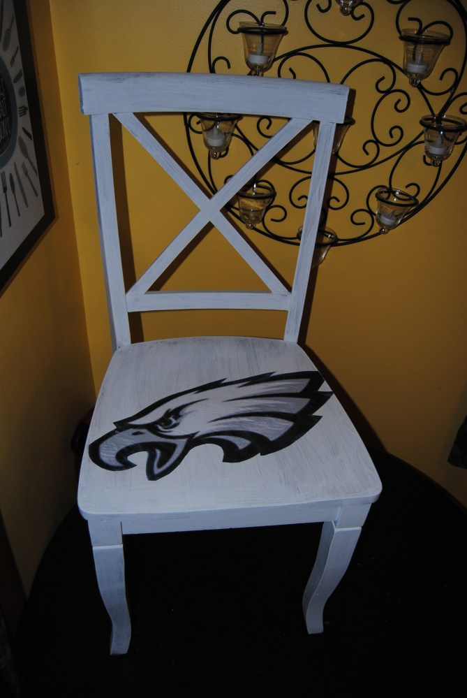It's Sunday,  Have a Seat: Upcycled, Hand Painted Decoupage Football Lover's Chair (1/5)