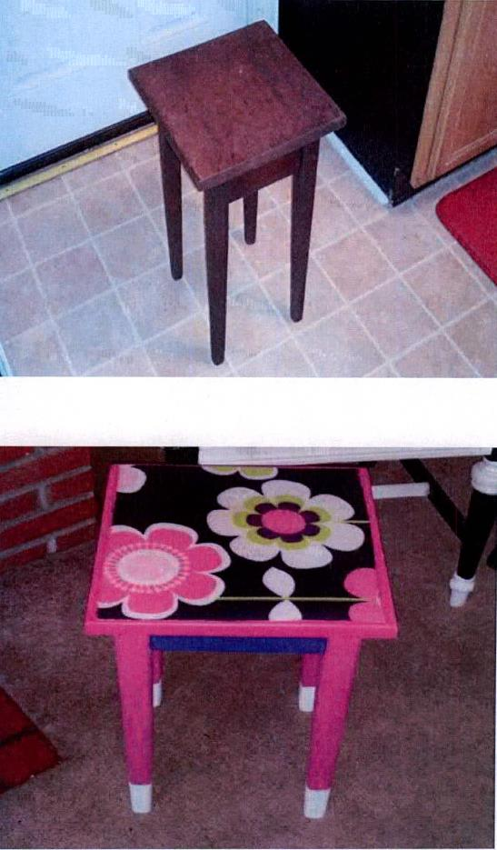 Crazy for Corduroy: Girls Flower Power Decoupage Side Table (6/6)