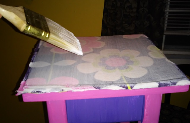 Crazy for Corduroy: Girls Flower Power Decoupage Side Table (4/6)