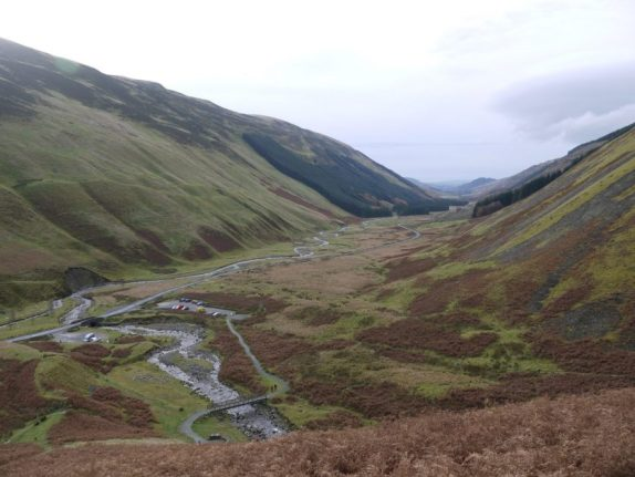 Looking down to the Grey Mare's Tail Waterfall carpark