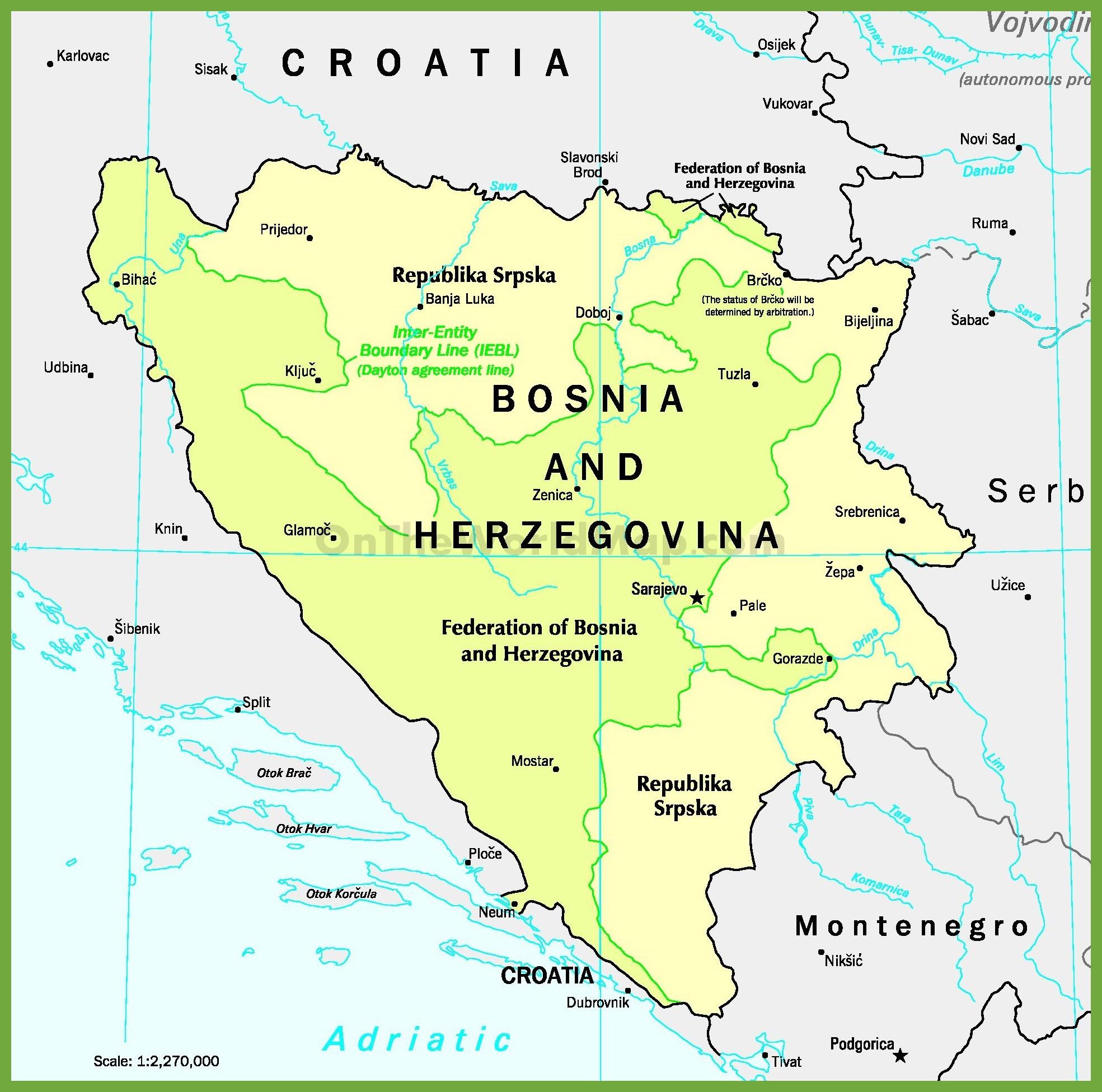 Bosnia And Herzegovina Political Map