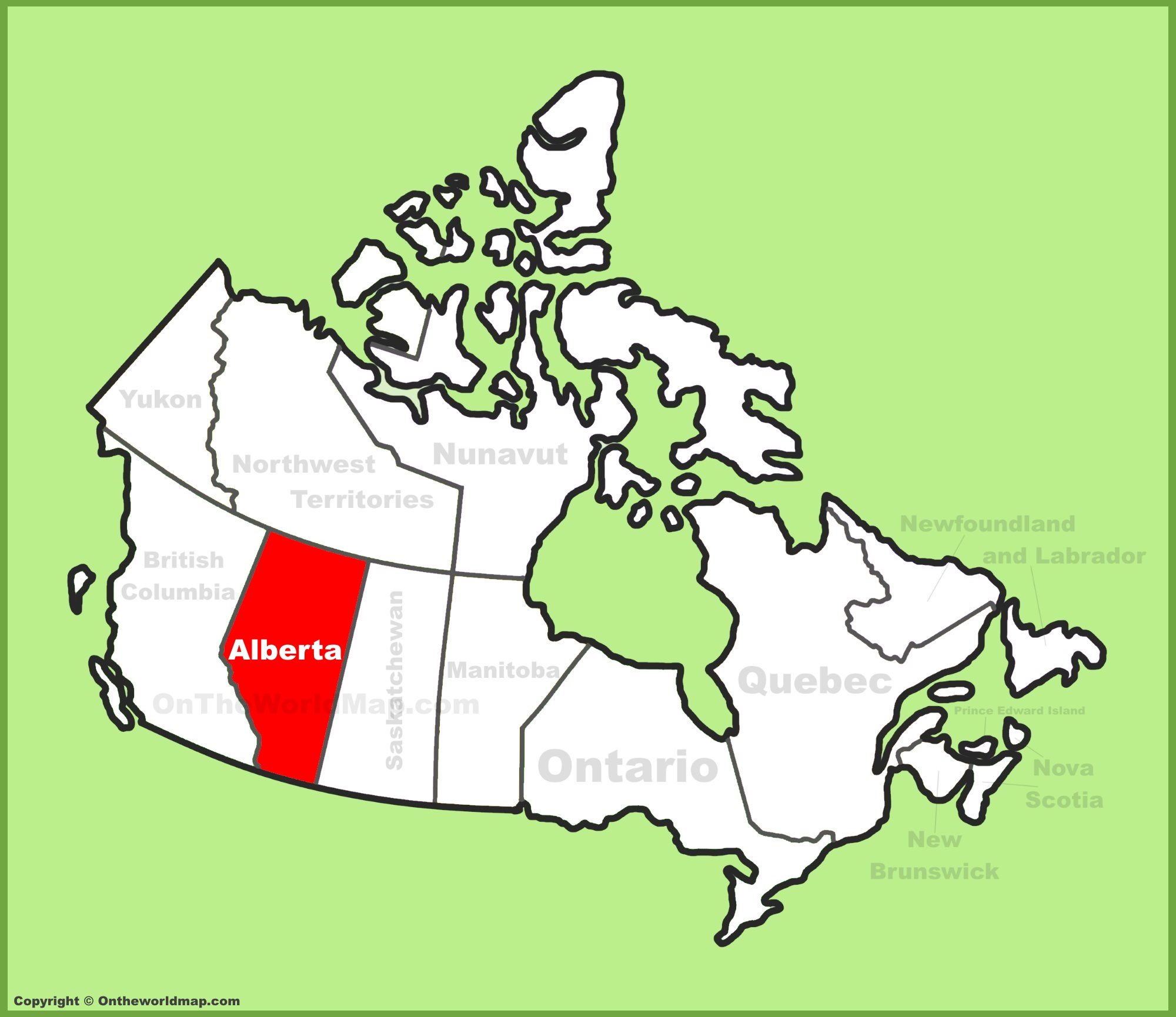 Alberta Location On The Canada Map