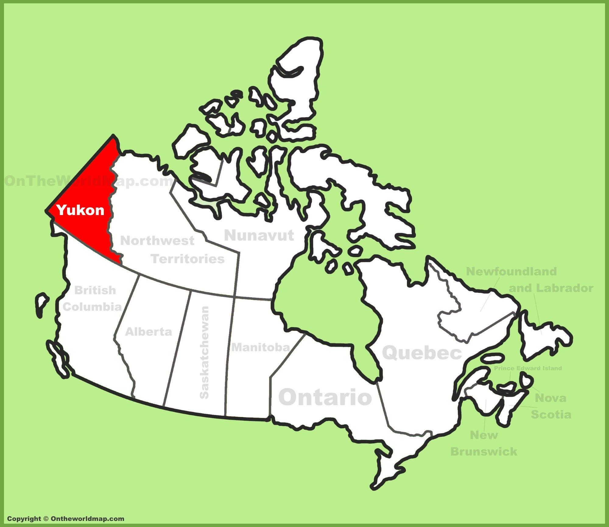 Yukon Location On The Canada Map