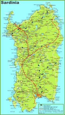 Large detailed map of Sardinia with cities, towns and roads