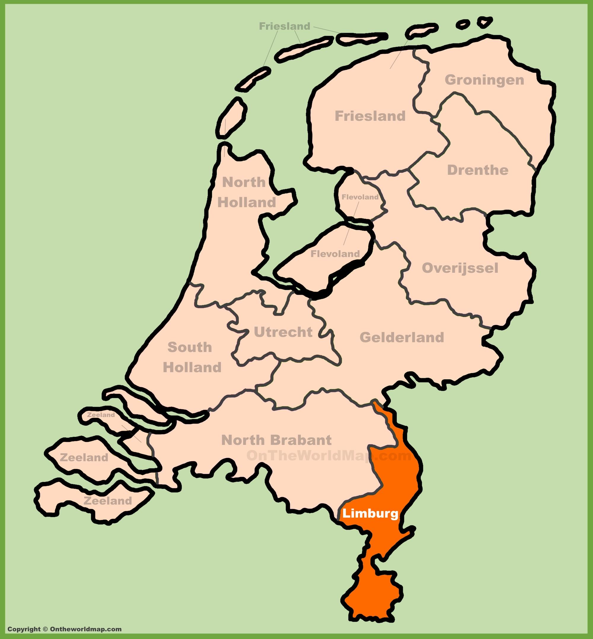 Limburg Location On The Netherlands Map