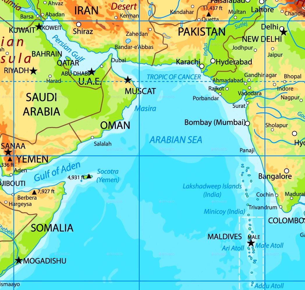 map of arabian sea