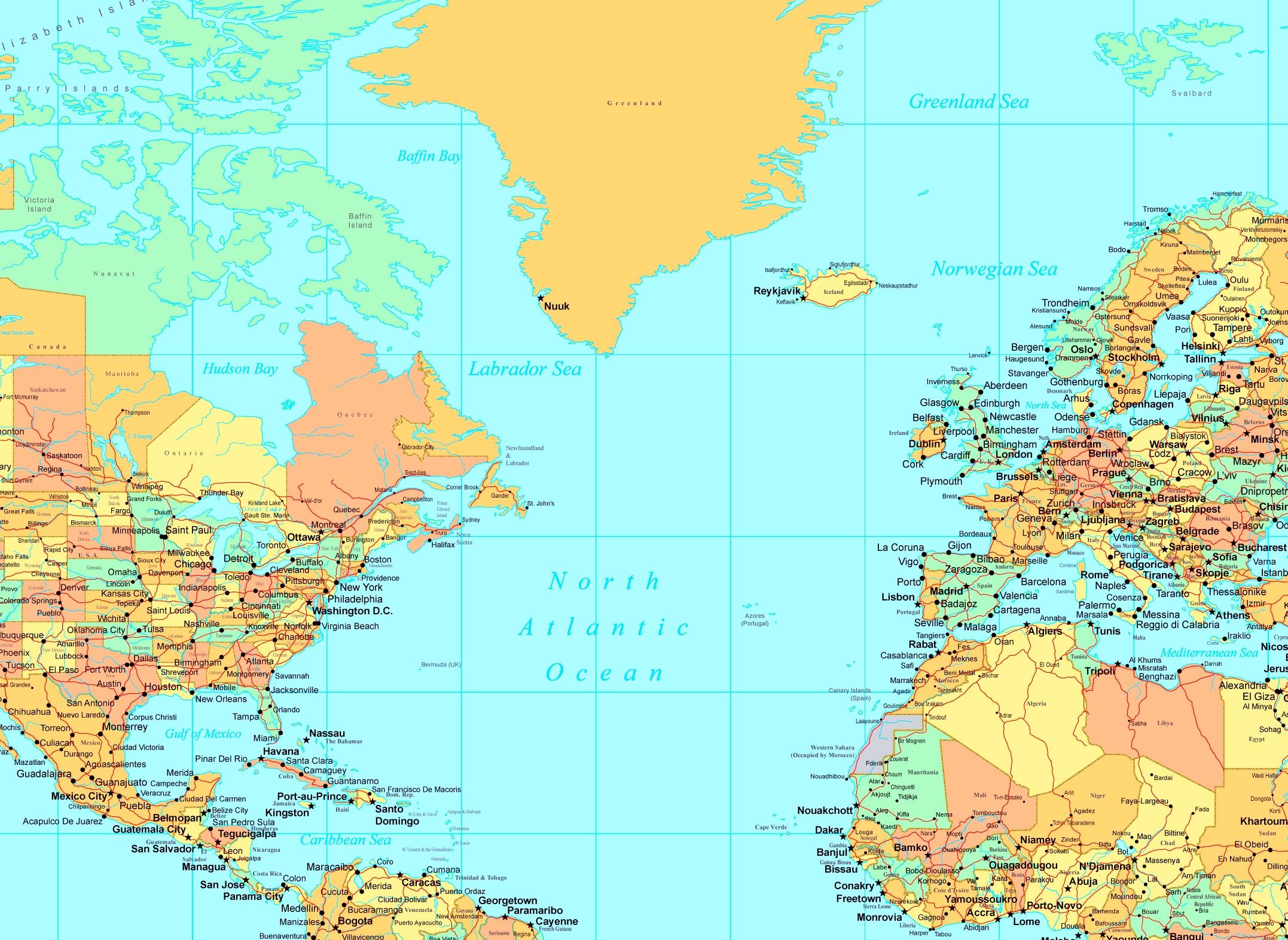 North Atlantic Ocean Map