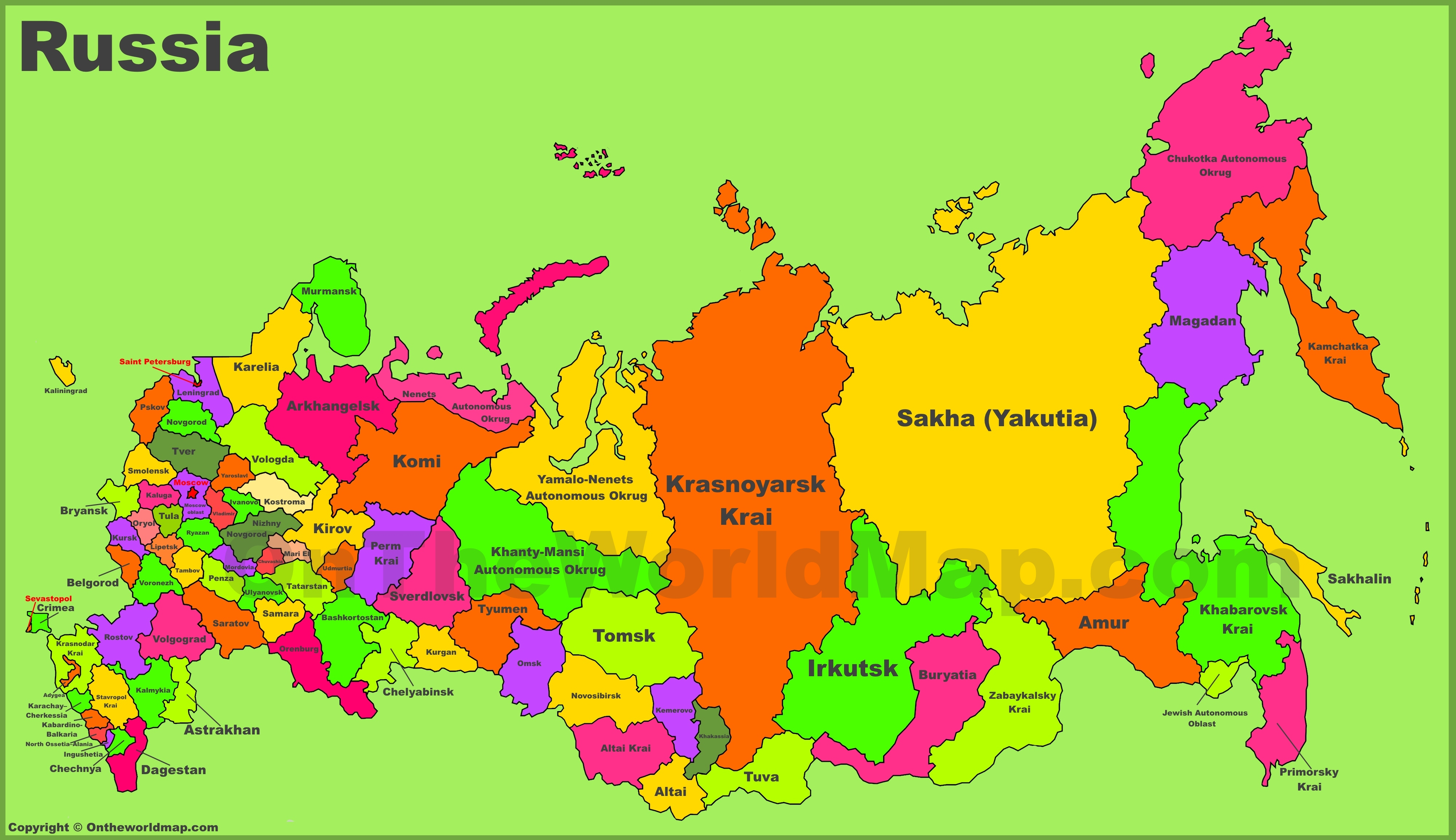 Administrative Divisions Map Of Russia