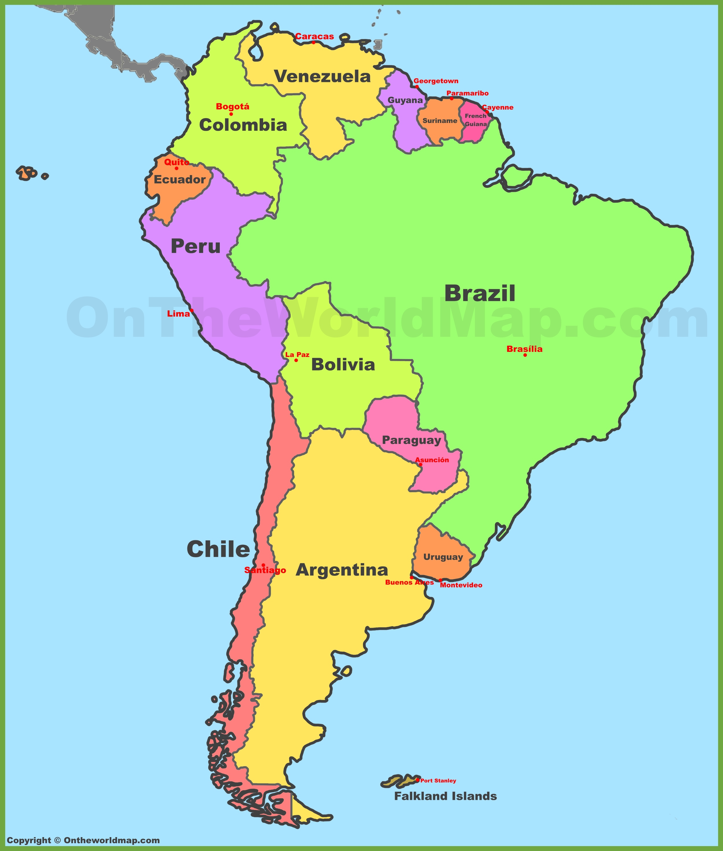 Map Of South America With Countries And Capitals