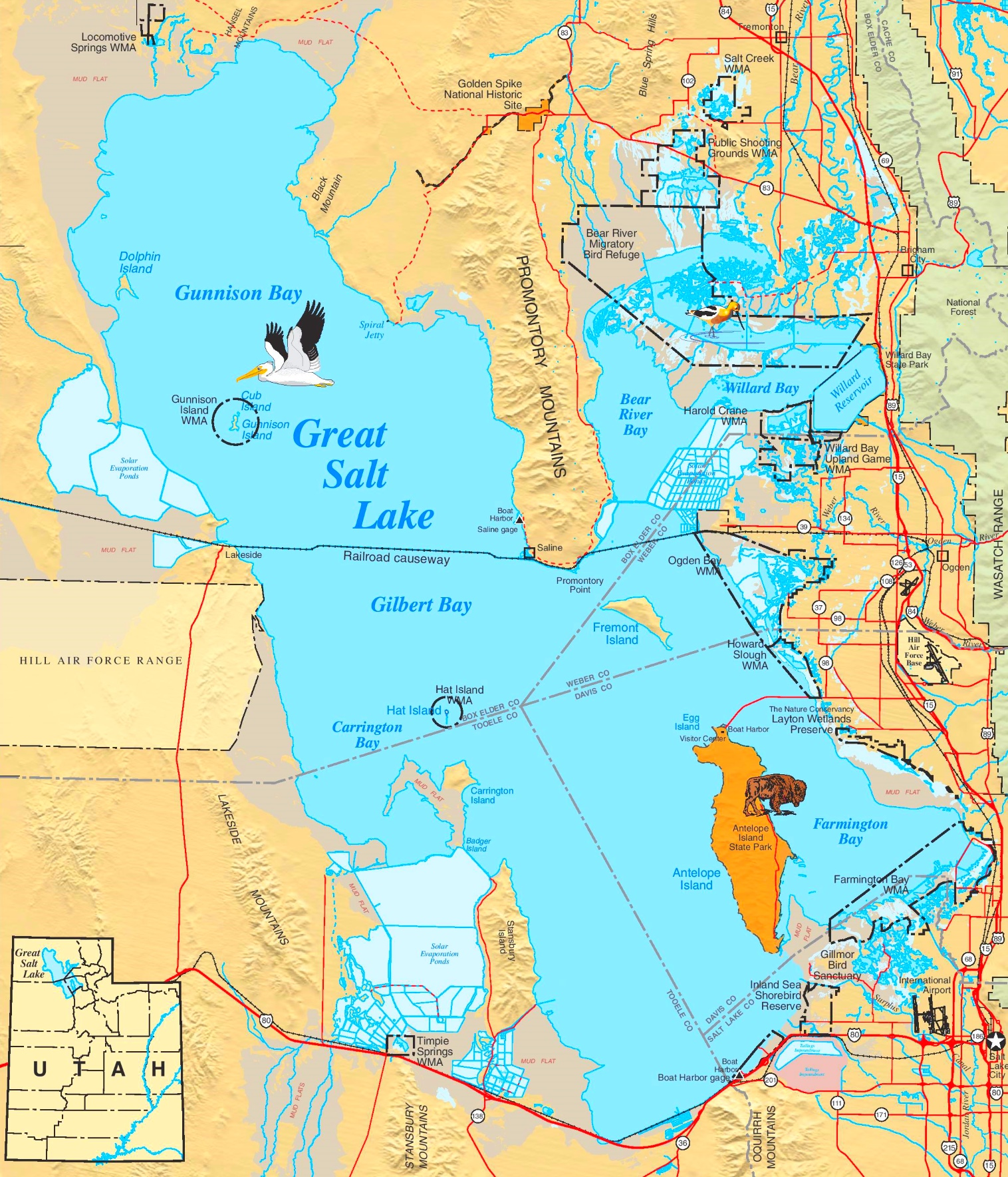 Large Detailed Map Of Great Salt Lake