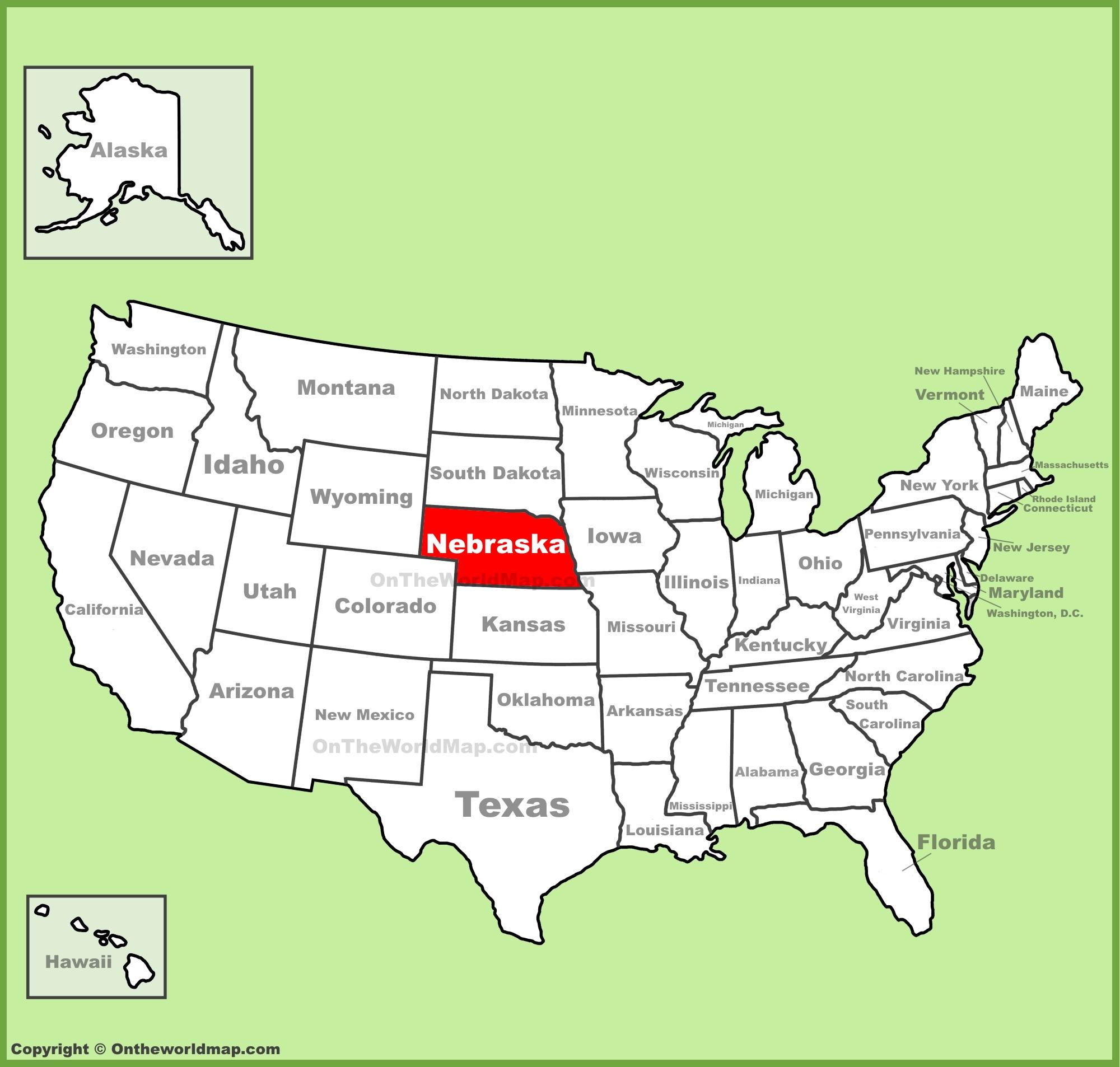 Nebraska Location On The U S Map
