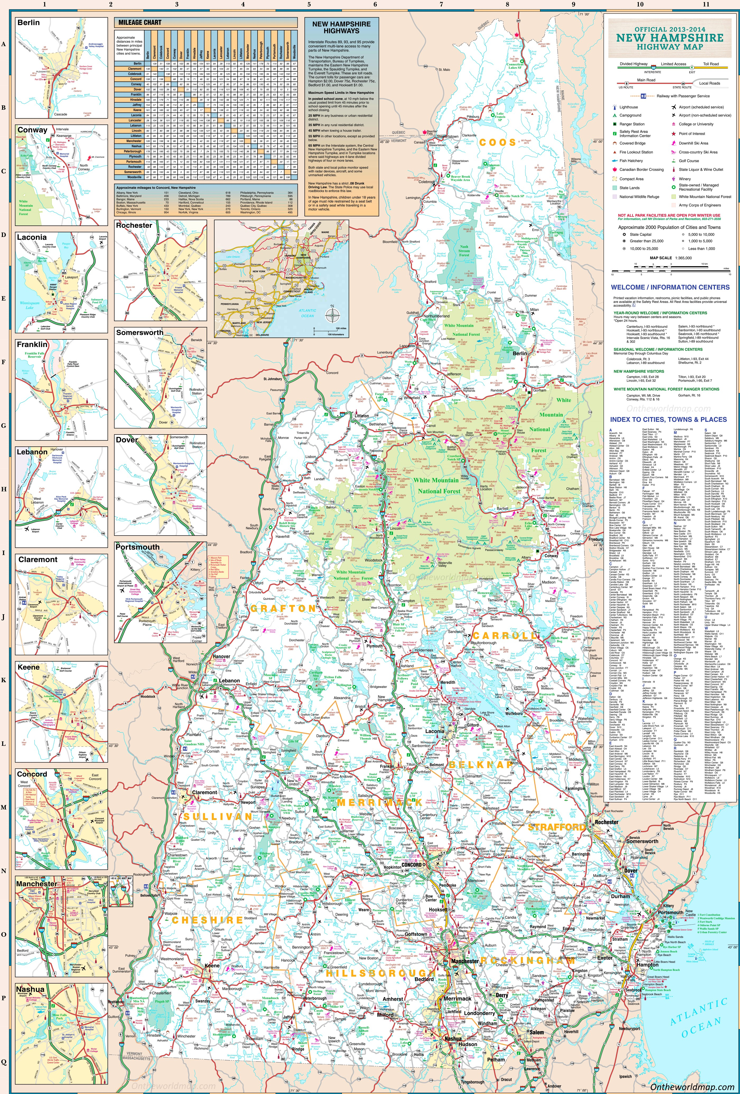 Large Detailed Tourist Map Of New Hampshire With Cities