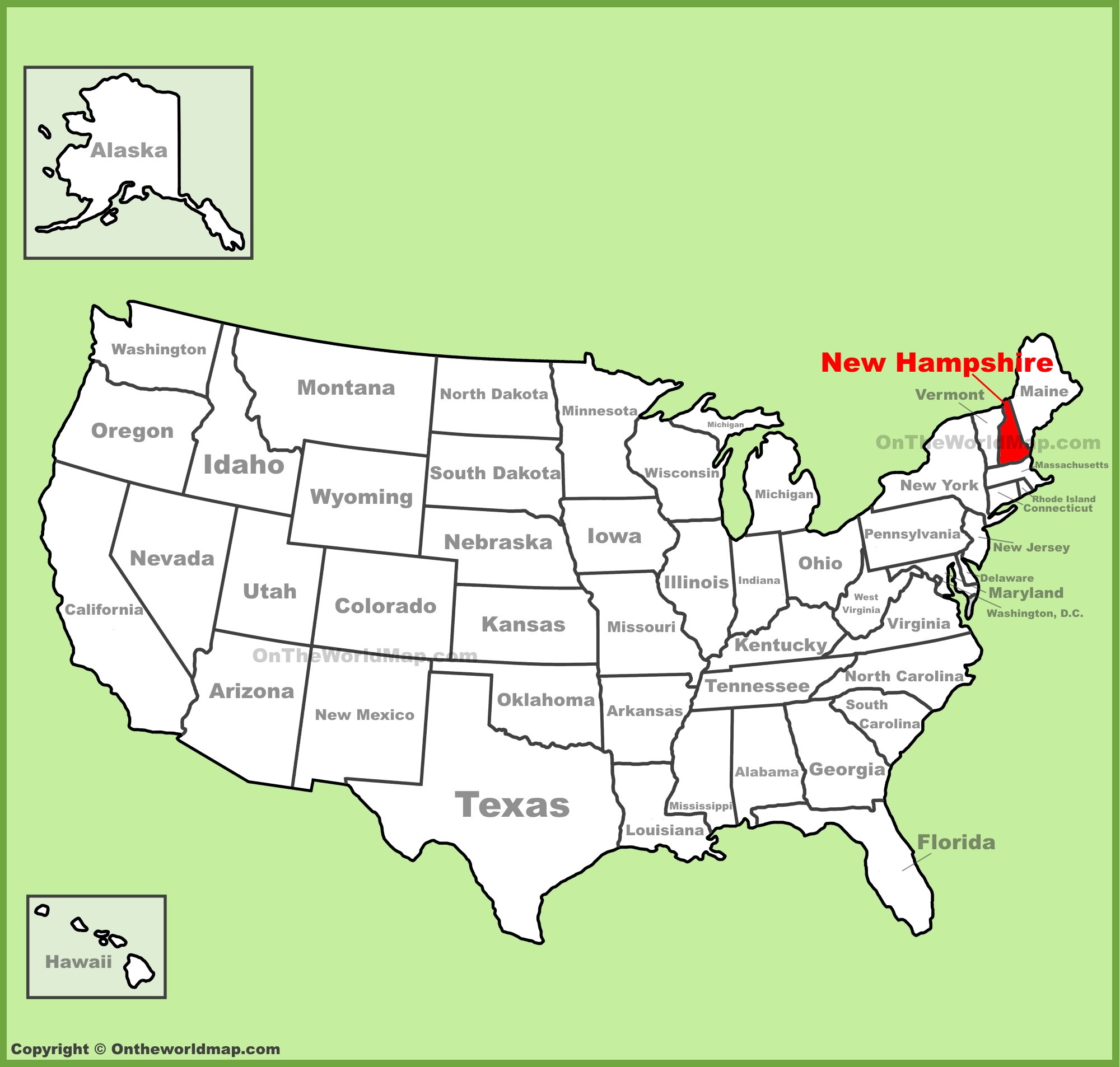 New Hampshire Location On The U S Map