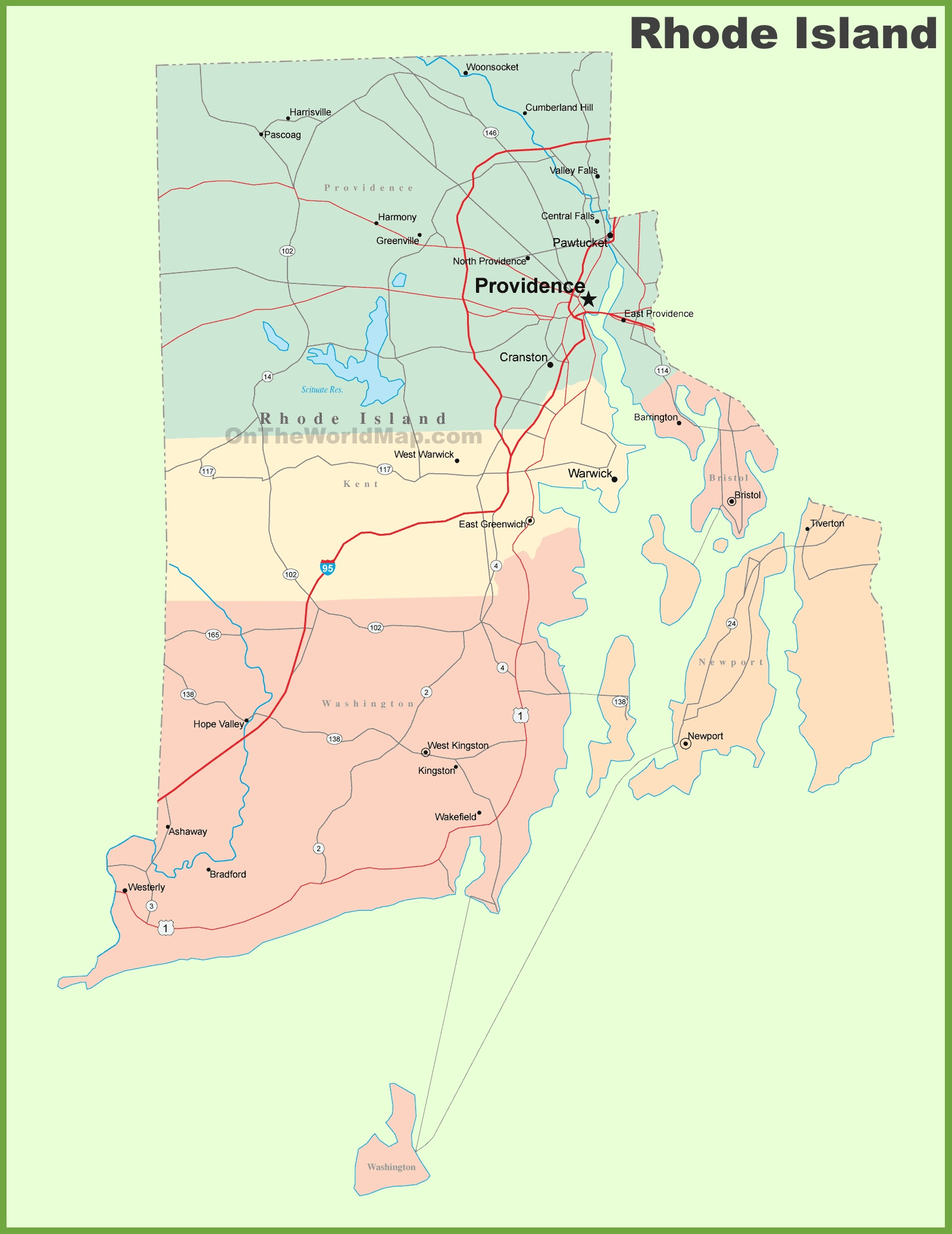 Road Map Of Rhode Island With Cities