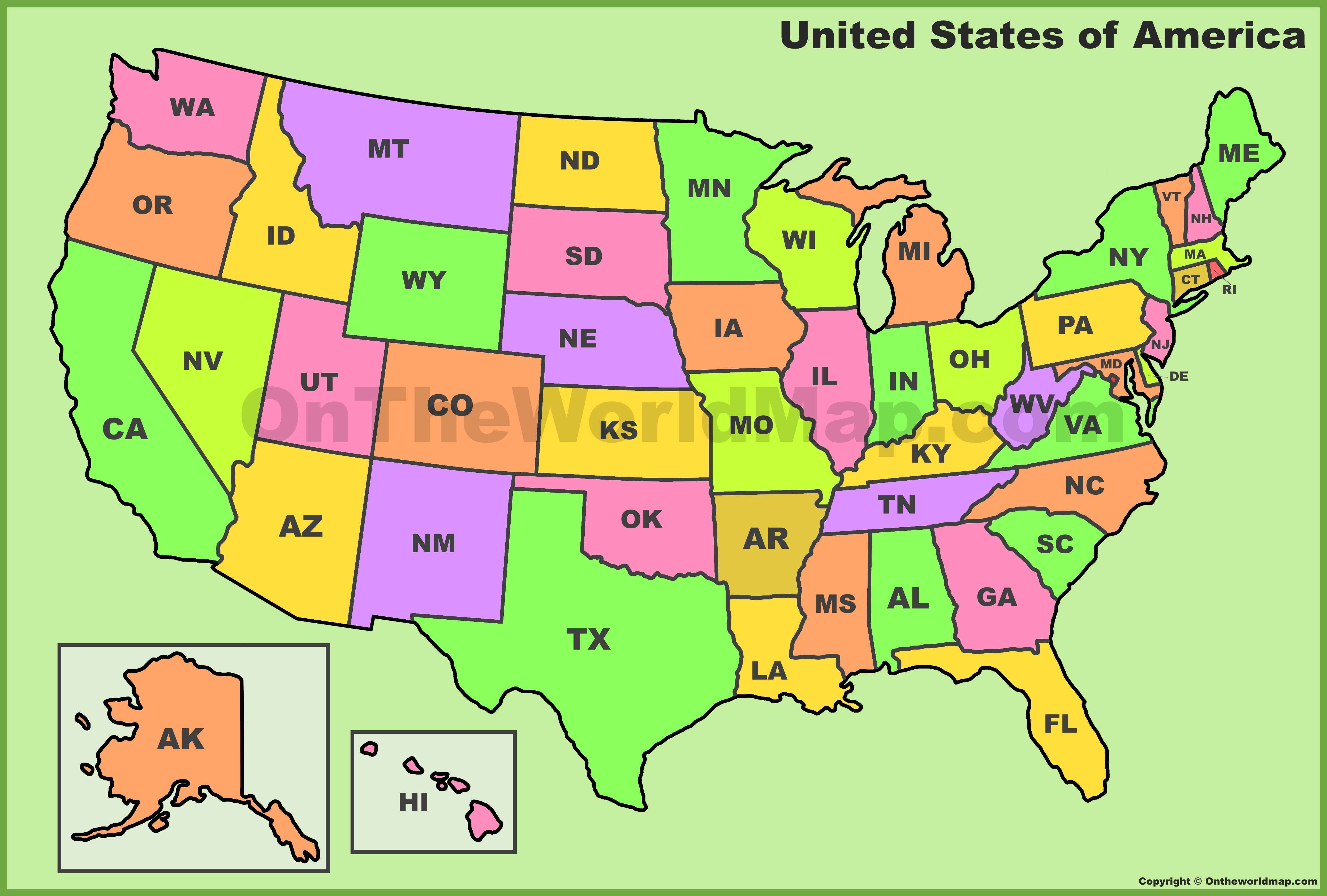 View a us map with. U S State Abbreviations Map