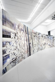 Miriam Bäckström (2012) detail of Smile as if we have already won, 290 x 1175 cm, Tapestry of cotton, wool, silk