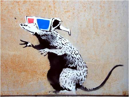 Banksy (n.d.) Rat with 3D glasses, Utah, USA