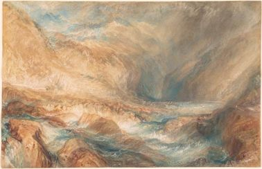 J. M. W. Turner 1775-1851 The Pass of St. Gotthard, near Faido Watercolor, point of brush, scratching out, on wove paper, 30.3cm x 46.9cm