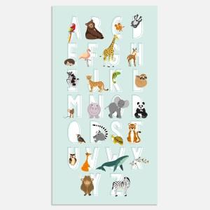 Deze abc alfabet poster leert je kleintje het ABC met vrolijk illustratie dieren. In blauw.