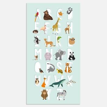 alfabet poster dieren abc blauw babykamer ontwerp door lindy