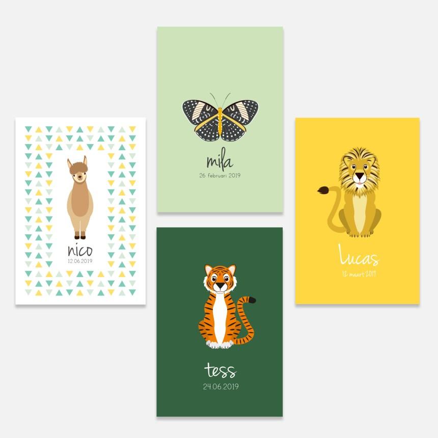 De vrolijke dierenvriendjes collectie bestaat uit een geboortekaartje alpaca, geboortekaartje vlinder, geboortekaartje leeuw en een geboortekaartje tijger.