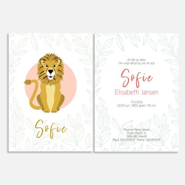 Dit geboortekaartje met foliedruk heeft een klassieke uitstraling. Met leeuw in goud en roze.