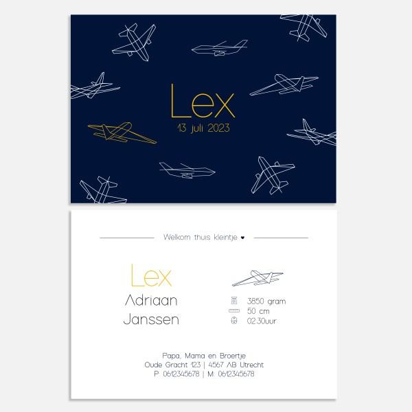 Geboortekaartje met stoere vliegtuigjes in donkerblauw. Formaat: 10x15cm, enkele of dubbele kaart.